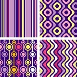 Four versions of retro seamless patterns. Fully editable, easy color change seamless vector Royalty Free Stock Images