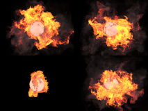 Four versions. Sphere in fire Stock Image