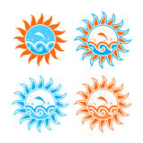Four versions of waves and fish in sun. Four versions of abstract waves and fish in sun on white background Royalty Free Stock Image