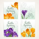 Four vertical banners Hello spring with yellow and purple crocus Stock Photo