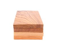 Four vertical boards (elm, acacia, lime, oak) Stock Image