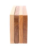 Four vertical boards (elm, acacia, lime, oak). On a white background Stock Photo
