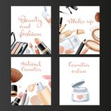 Four vertical cosmetic banners set on a black Stock Image