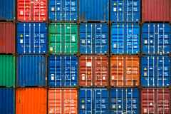 Four Vertical Rows Of Shipping Containers Royalty Free Stock Images