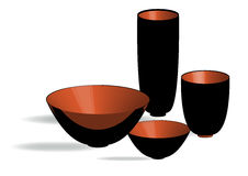 Four vessels. Four copper vessels casting the shadows Stock Image