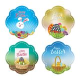 Collection of Easter labels with multiple effects and vibrant gradients. Four vibrant and eye catching Easter labels designed with unique illustrations and Royalty Free Stock Photos