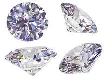 Four view of diamond isolated on white Royalty Free Stock Image