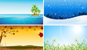 Four view of different seasons Stock Images