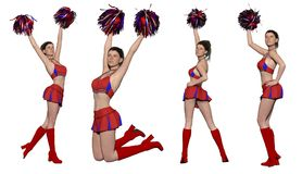 Four views of attractive cheerleader royalty free illustration