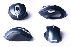 Four views of cordless computer mouse Stock Photo