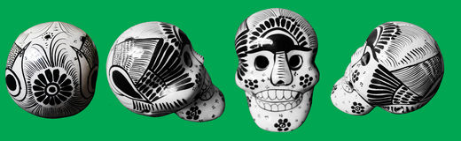 Four views of a day of the dead skull Royalty Free Stock Photo