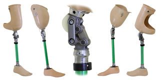 Four views of prosthetic legs and knee mechanism Stock Image