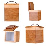 Four views of a small bamboo box. Isolated on white Stock Photography