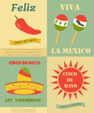Four vintage banners, backgrounds with different symbols for Cinco de Mayo holiday. Four vintage banners with different symbols for Cinco de Mayo holiday Stock Illustration