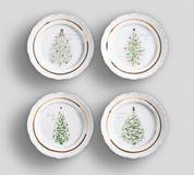 Four Vintage Floral Dinner Plates with white background stock image