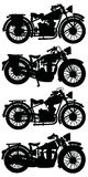 Four vintage motorcycles Royalty Free Stock Photography