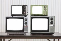 Four Vintage Televisions With Cut Out Screens Stock Photo