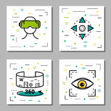 Four virtual reality linear icons. Vector four square virtual reality linear icons with additional elements. Panoramic 360 degrees view, play station, control Stock Photo