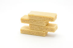 Four wafers with a vanilla cream Stock Image