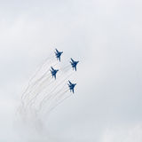 Four war jet planes in sky Royalty Free Stock Image