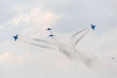 Four war jet planes in sky Royalty Free Stock Photo