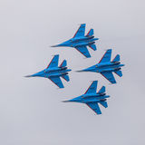 Four war jet planes in sky Stock Photography