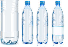Four Water Plastic Bottles with Generic Label. Detailed illustration of a Four Water Plastic Bottles with Generic Label Royalty Free Stock Photography