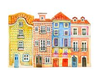 Four watercolor old stone Europe houses. Portugal architecture. Hand drawn cartoon illustration royalty free illustration