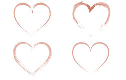 Four watercoloured hearts. Stock Image