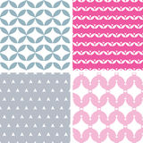 Four wavy pink and gray abstract geometric Stock Photo