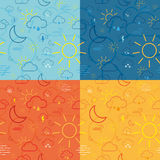 Four Weather Icon Pattern Tiles Stock Photography