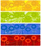 Four web banners. With floral design over white background vector illustration