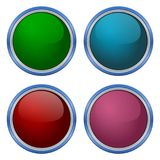 Four Web buttons, glossy empty buttons Stock Images
