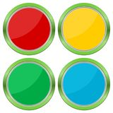 Four Web buttons, glossy empty buttons Stock Photos
