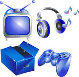 Four website and internet icons. Tv, headphones, box, joystick Stock Photo