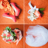 Four wedding objects stock photo