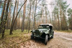 Four-wheel Drive Army Truck GAZ-67 Car Of World War II Parking. Near Forest Road Stock Photography