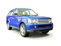 Four-wheel drive blue car Stock Photos