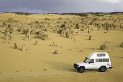 Four wheel drive in dessert. Four wheel drive car in the Pinnacles dessert Stock Image