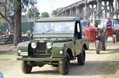 Four Wheel Drive. This early model around 1957 Land Rover 4x4 has been painted in its original colour, green, straight over all the dents. It has had a hard Royalty Free Stock Photo