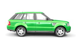 Four-wheel drive green car side view Stock Image