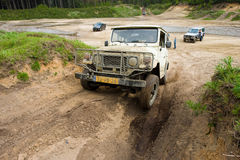 Four wheel drive on muddy track Royalty Free Stock Images