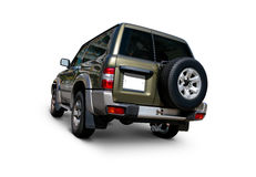 Four wheel drive Nissan Patrol. Nissan Patrol off-road four wheel drive back view with tinted windows and spare wheel - Includes realistic shadows and separate Stock Photography