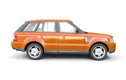 Four-wheel drive orange car side view Royalty Free Stock Images