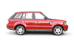 Four-wheel drive red car side view stock photos