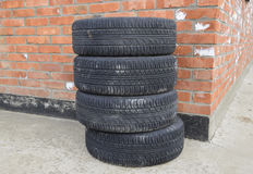 Four wheel drive. Rubber tires. Summer rubber set for the car Royalty Free Stock Photo