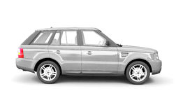 Four-wheel drive silver car side view Stock Photos