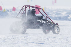 Four-wheel drive in the snow playground Stock Image