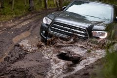 Four wheel drive vehicle bogged down in soft mud. On a forest track during an off-road expedition Royalty Free Stock Photo