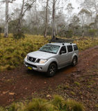 Four Wheel driving Australia. BARRINGTON TOPS, AUSTRALIA - NOVEMBER 14, 2015:4wd car Nissan Pathfinder driving on an offroad track on a misty day in the Stock Image